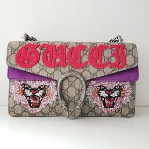 Gucci Angry Cat Shoulder Bag - Purple/Beige
